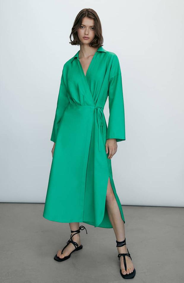 prendas sofisticadas Vestido verde cruzado de Massimo Dutti