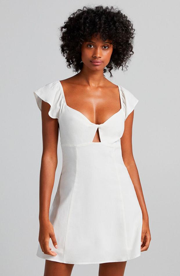 prendas sofisticadas Vestido blanco de Bershka