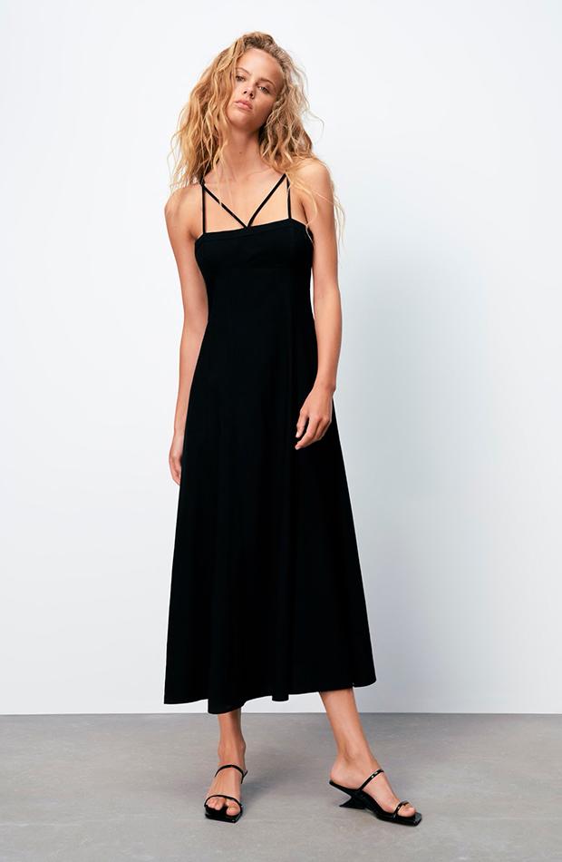 prendas sofisticadas Vestido negro de Zara lino