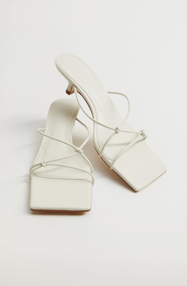 sandalias de tacón mango blancas nudos