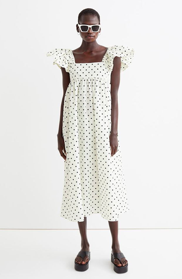 tendencia detalle volantes Vestido de lunares de H&M