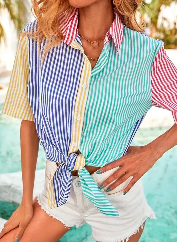 camisa patchwork de Shein