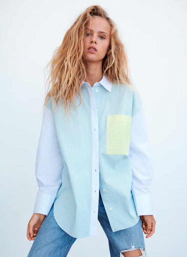 camisa patchwork de Zara