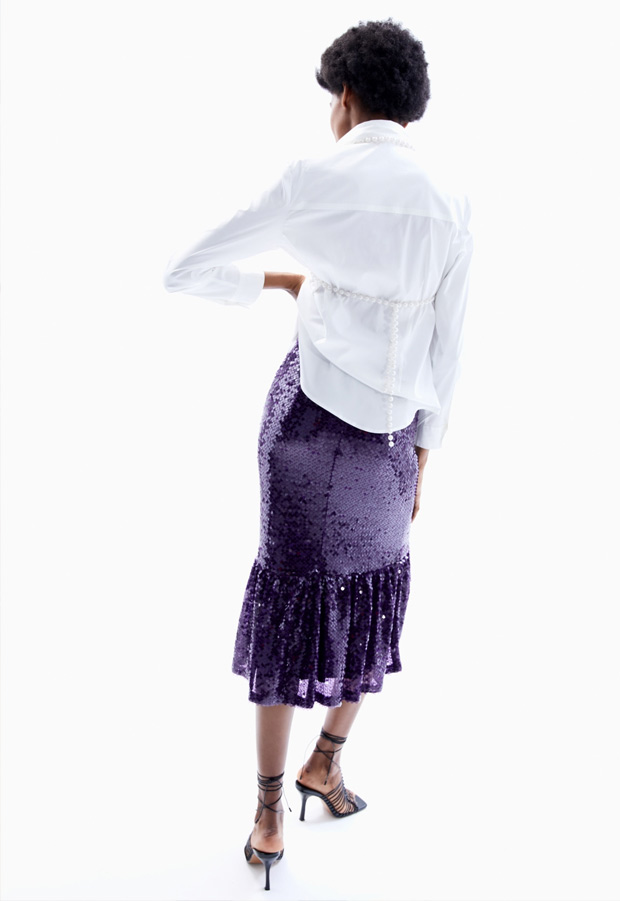 Falda midi de lentejuelas moradas
