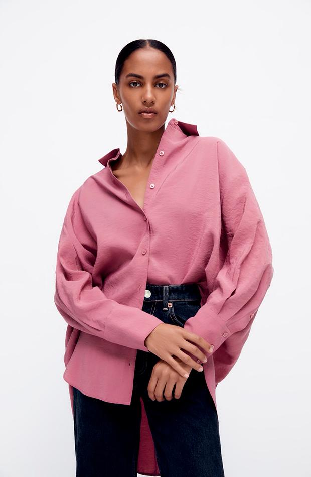 Camisa de Zara rosa oversize