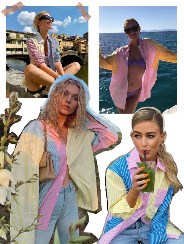 camisa patchwork de rayas