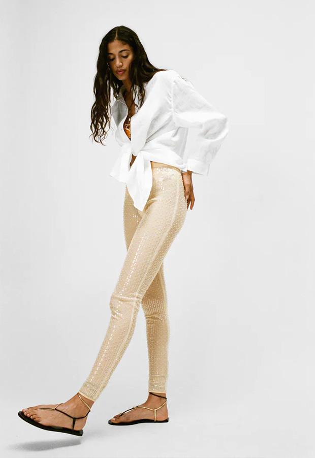 Leggings de lentejuelas de Zara