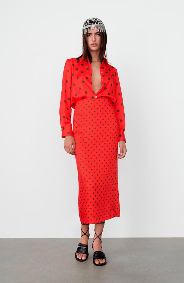 novedades de Zara Blusa de lunares roja