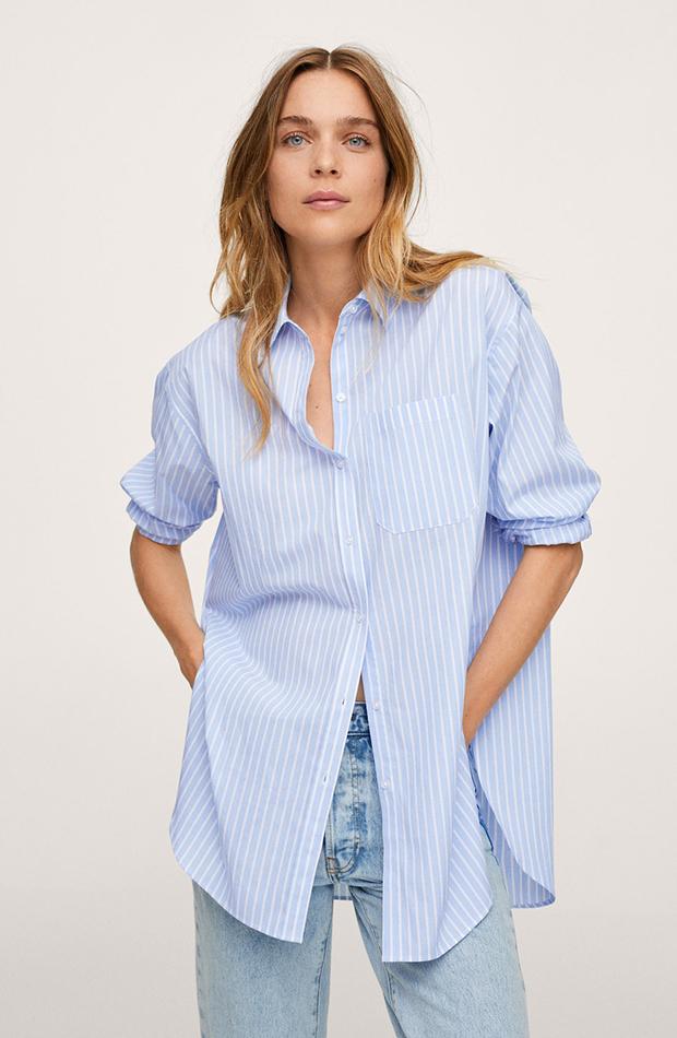 vuelta a la oficina Camisa de Mango oversize de rayas azul