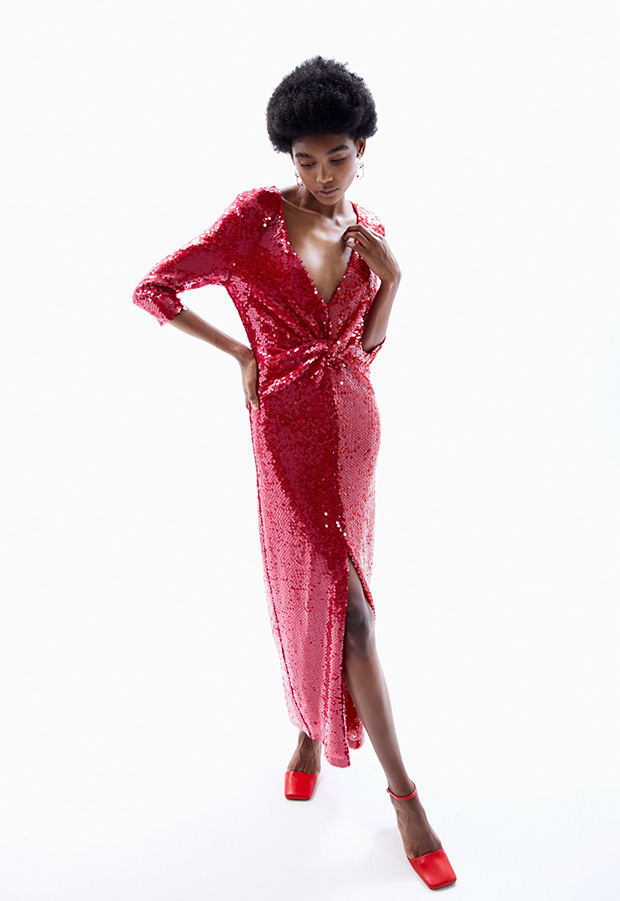 Vestido largo de fiesta de lentejuelas rojas