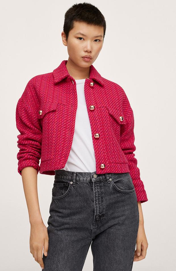 chaqueta de tweed Mango