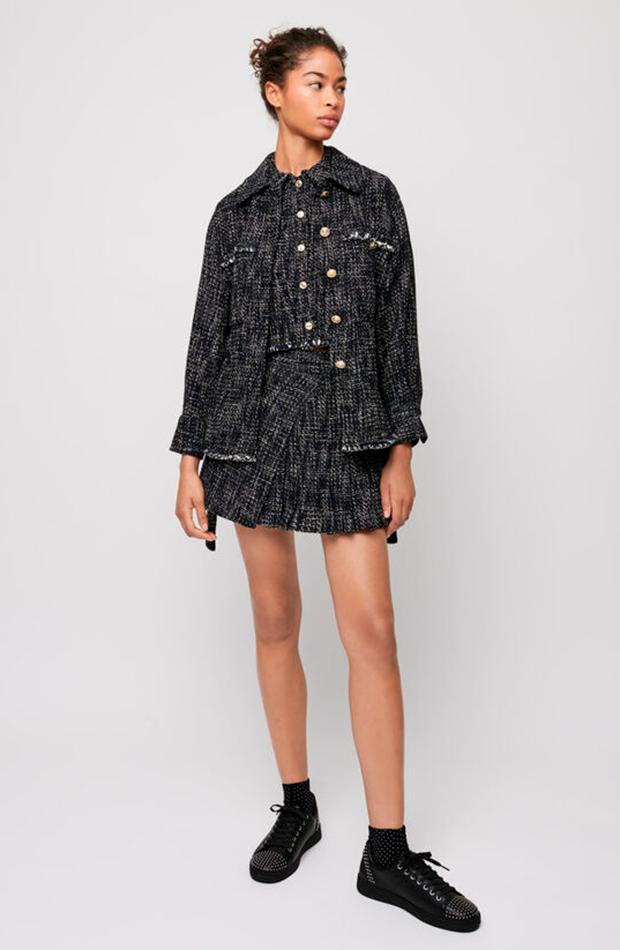 chaqueta de tweed Maje sobrecamisa tendencia