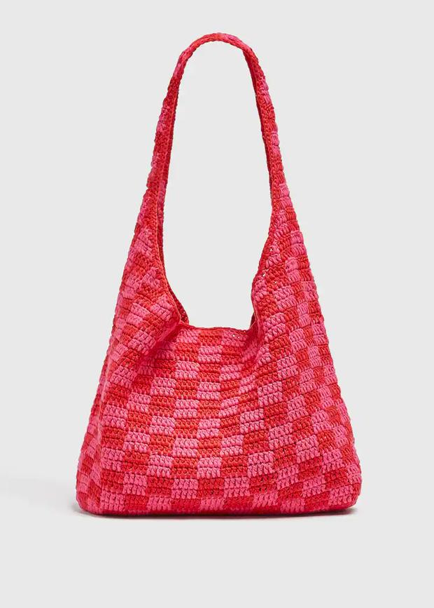 bolso con estampado damero