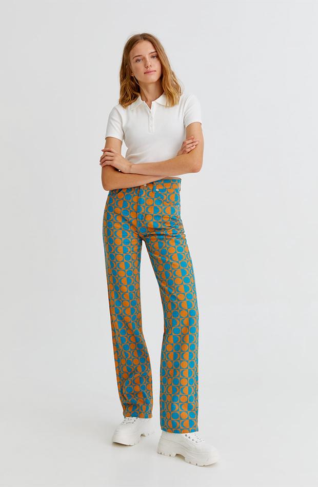 estampado geométrico Pantalón de Pull & bear