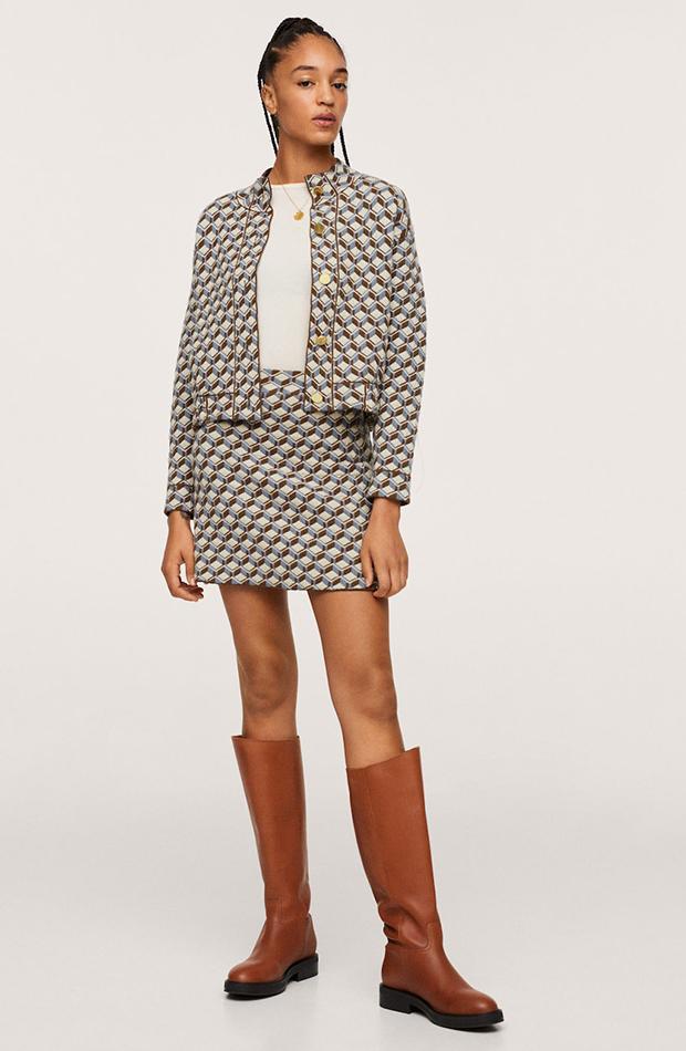 Falda con estampado geométrico de Mango