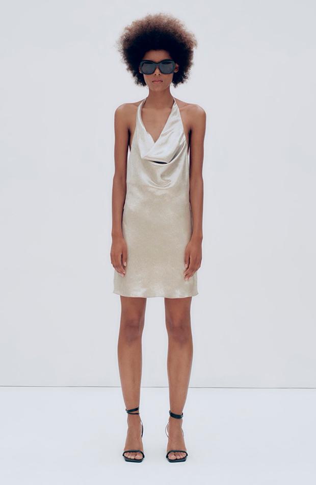 ropa metalizada Vestido de Zara