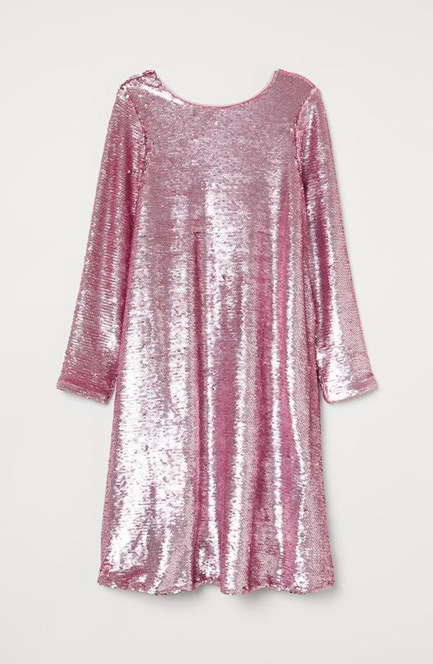 ropa metalizada Vestido rosa de H&M lentejuelas