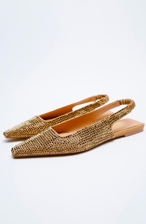 Zapato plano ropa metalizada