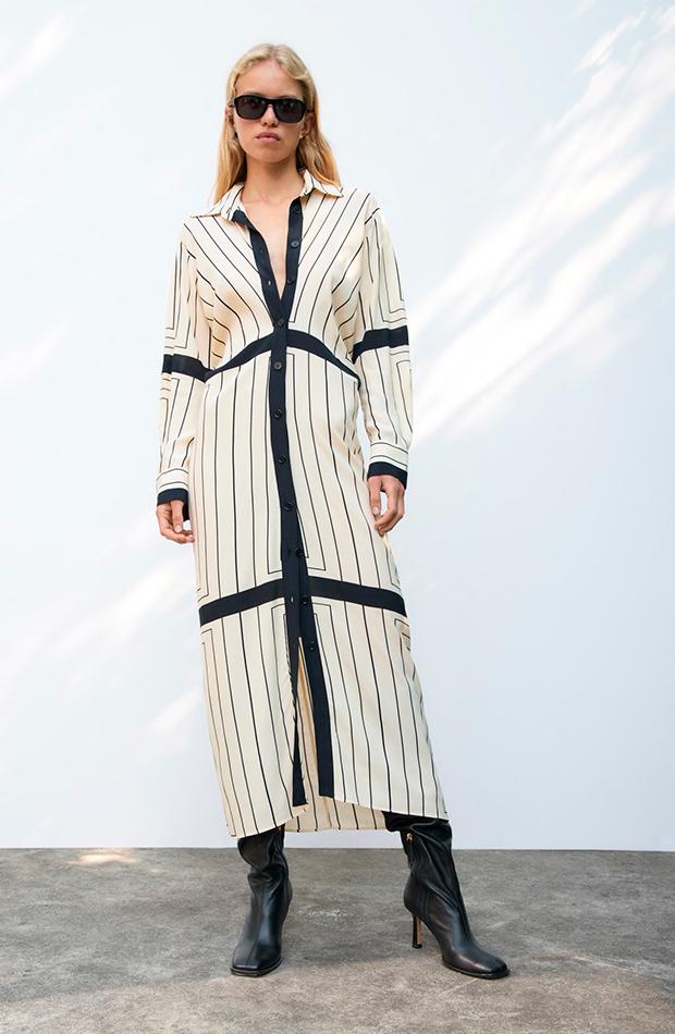 estampado de rayas Vestido de Zara