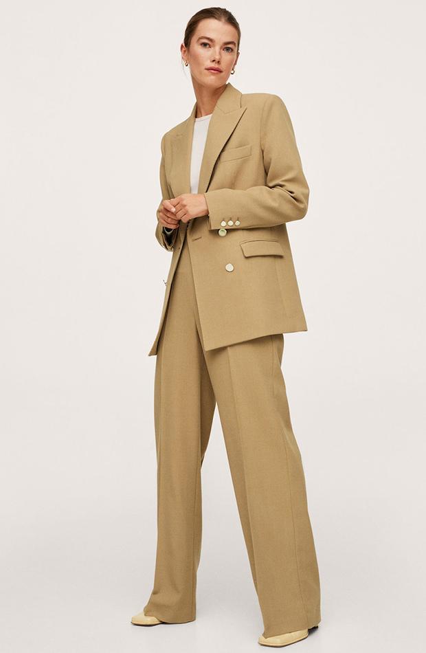 trajes de chaqueta Traje beige de Mango