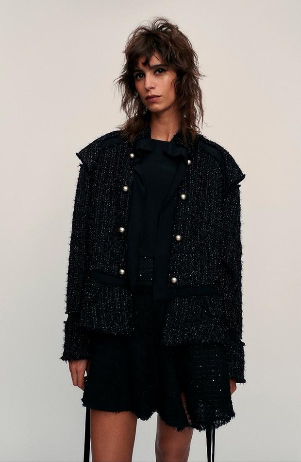 Zara chaqueta de tweed color negro