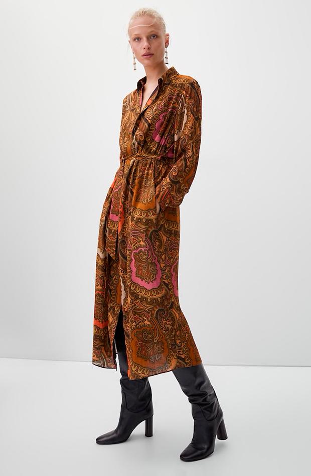Vestido estampado paisley de Massimo Dutti