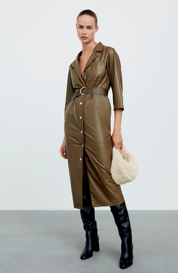 vestidos camiseros Vestido midi efecto piel de Zara