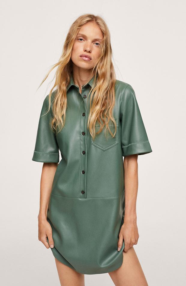 vestidos camiseros Vestido efecto piel verde de Mango