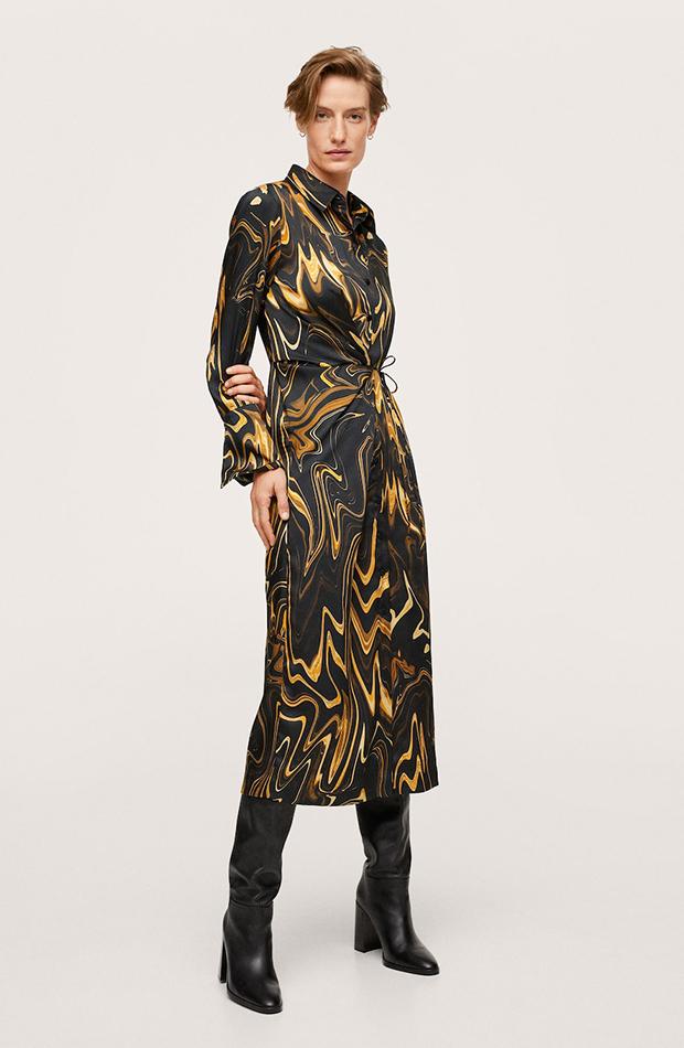 vestidos camiseros Vestido estampado de Mango