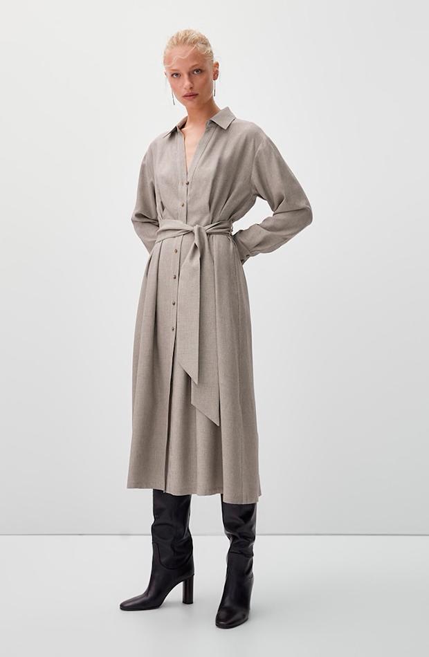 vestidos camiseros Vestido microcuadros de Massimo Dutti