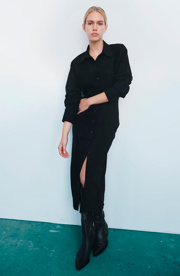 vestidos camiseros Vestido midi satinado negro de Zara