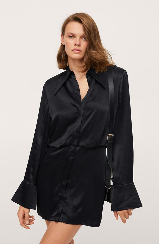 vestidos camiseros Vestido negro satinado de Mango