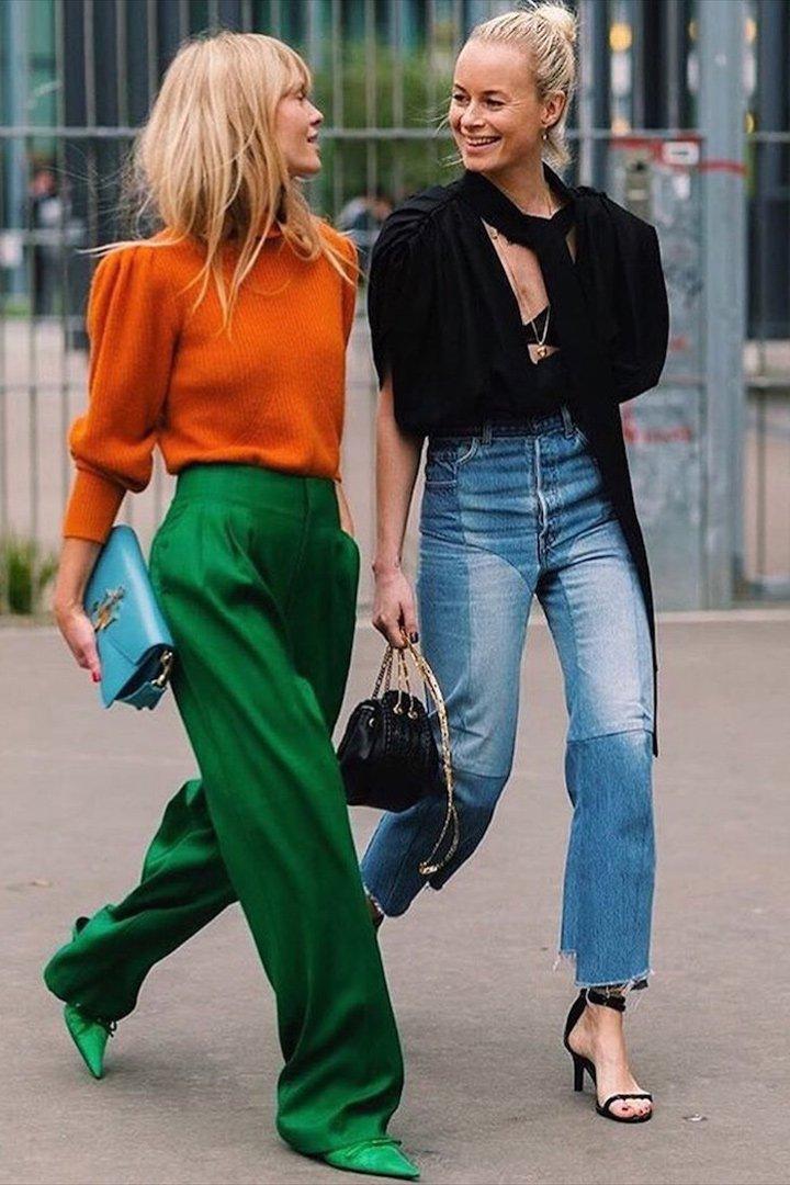 Jeanette Friis Madsen look naranja y verde