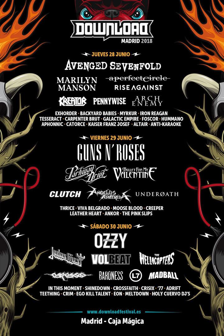 Download Festival: agenda junio 2018