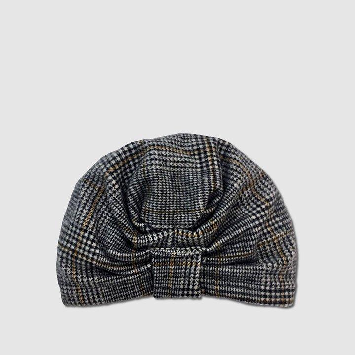 Turbante de lana con estampado de pata de gallo de Belle Turban: complementos para el pelo