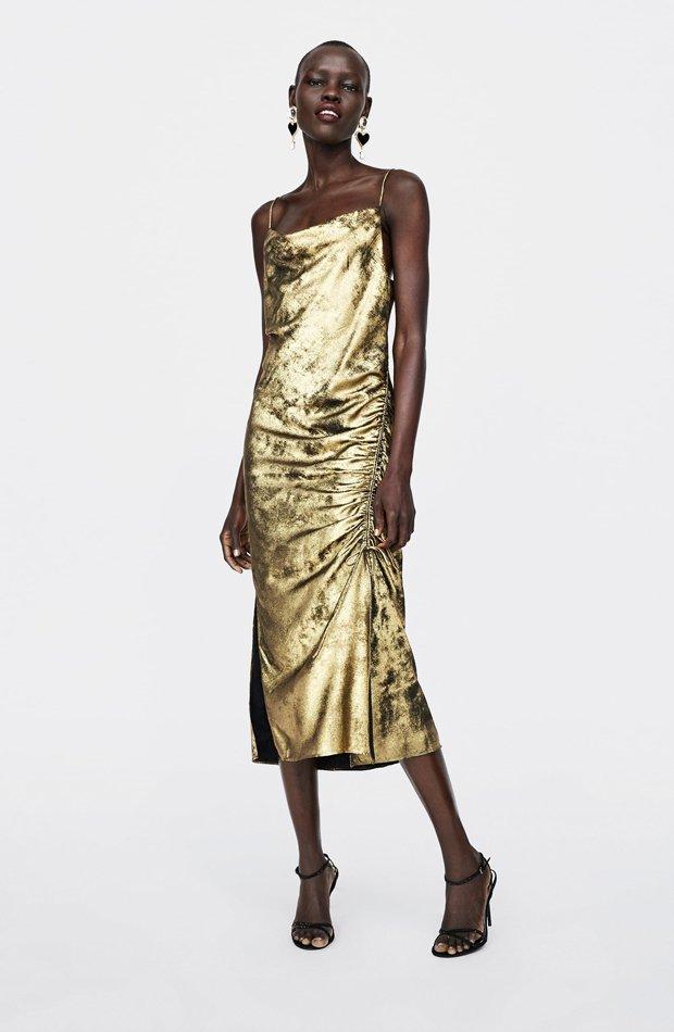 nuevo zara vestido metalizado