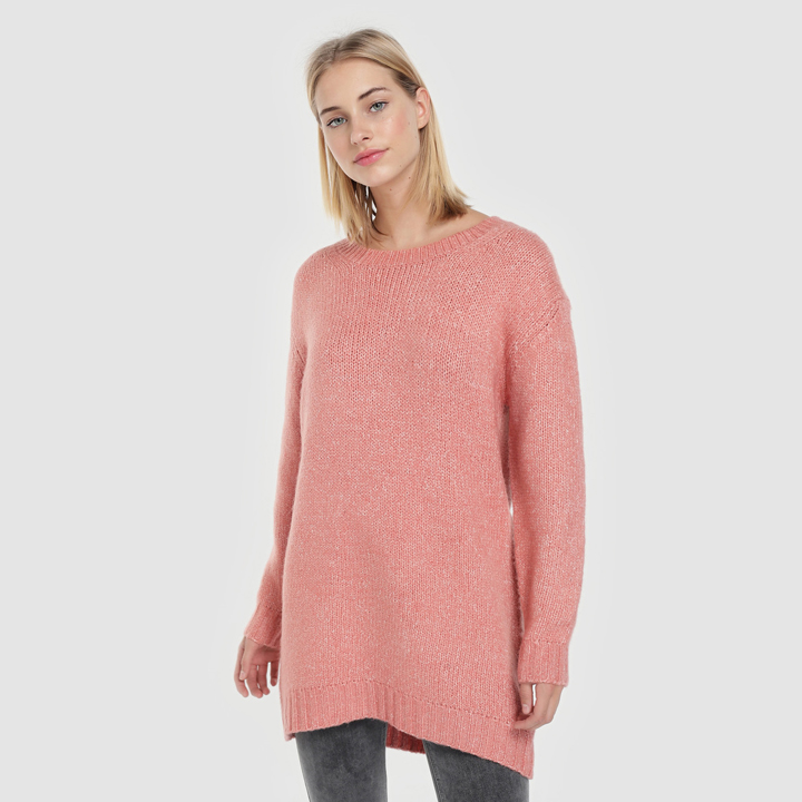 Jersey maxi con cuello redondo de Easy Wear: prendas living coral