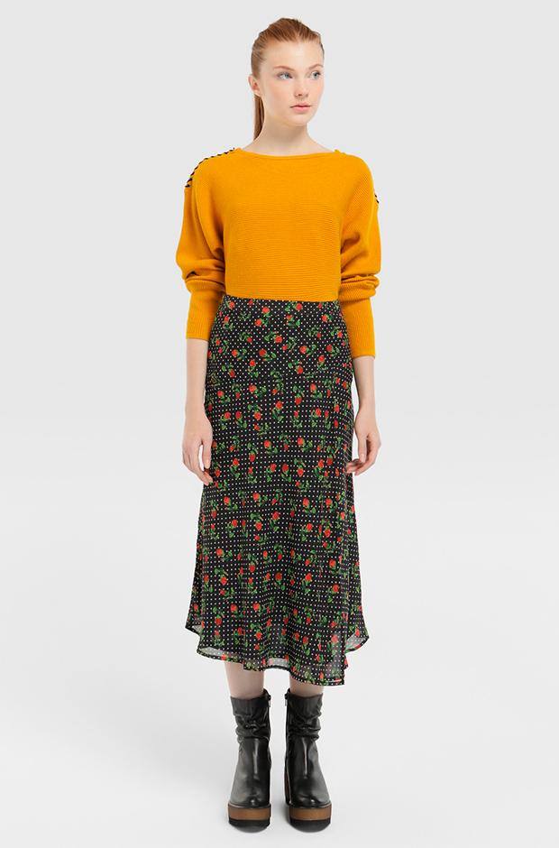 Falda midi estampada de flores