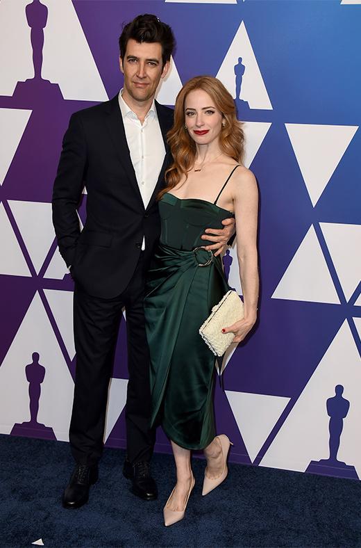 Guy Nattiv y Jaime Ray Newman en el amuerzo de los nominados a los Oscar 2019