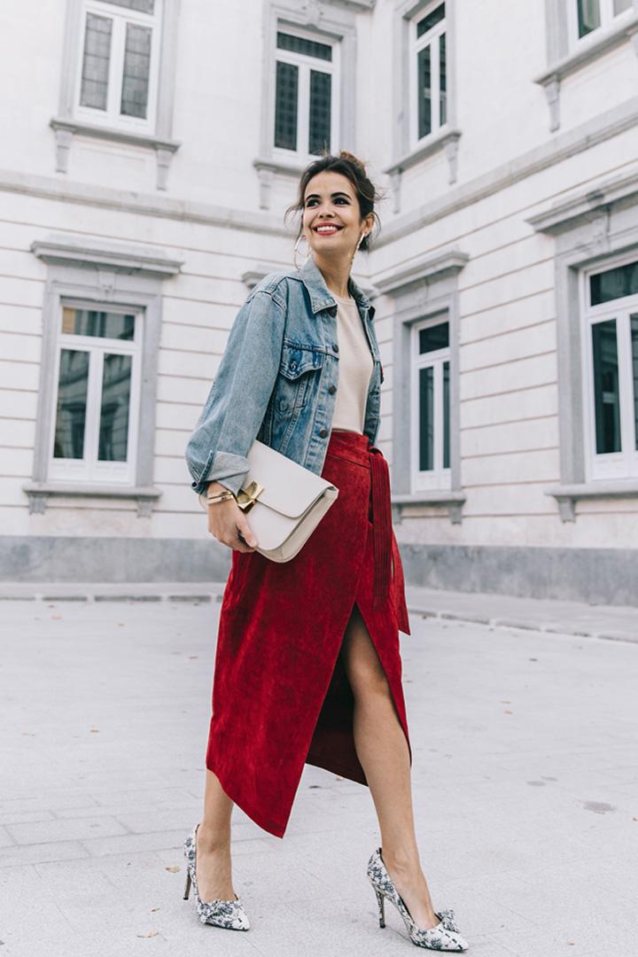 Falda roja de Collage Vintage