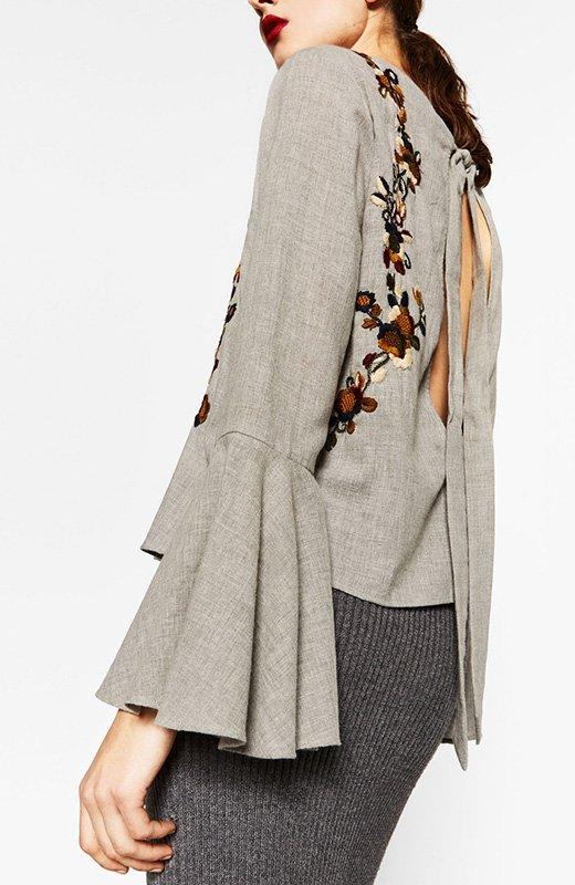 Camisa gris de Zara con bordados