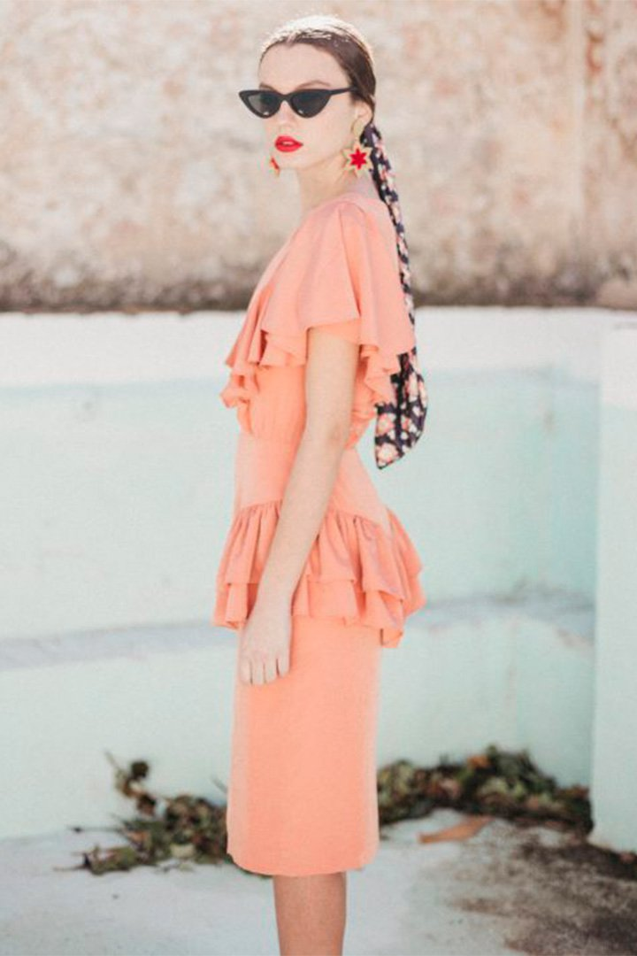 Vestido coral de Cherubina