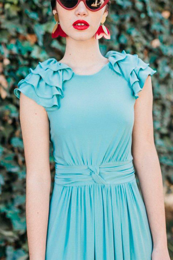 Vestido largo azul de Cherubina