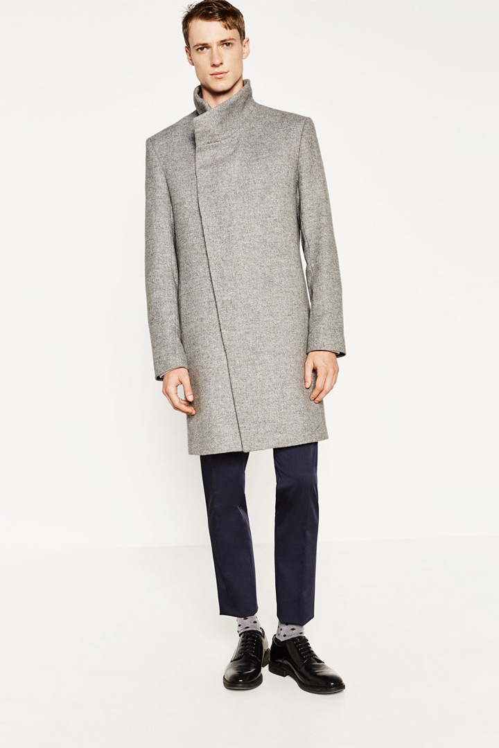 Abrigo desestructurado gris de Zara