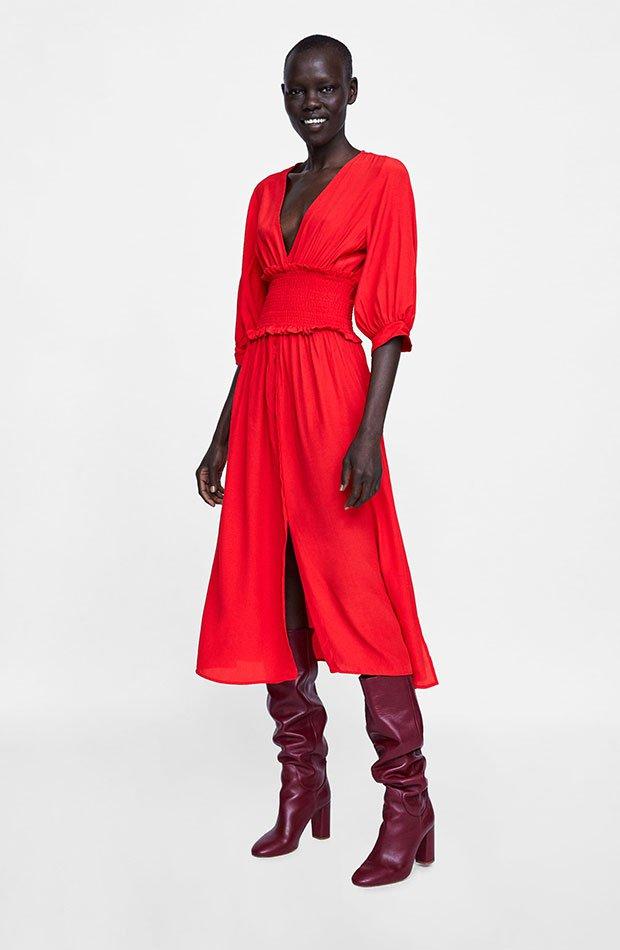 Vestido rojo de Dress Time de Zara