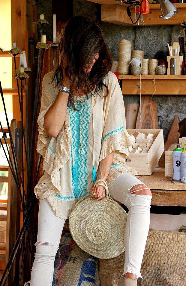 Mytenida con camisa de bordados