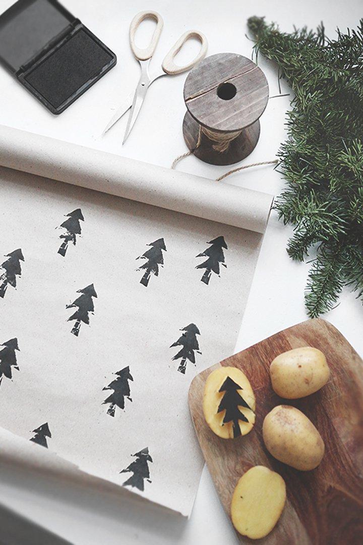 Envoltorio de regalo con patatas