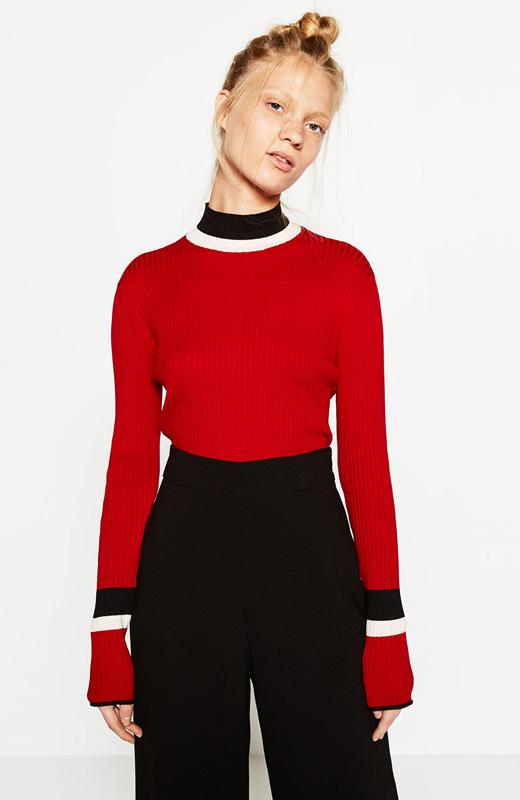 Jersey de punto rojo de Zara Otoño 2016