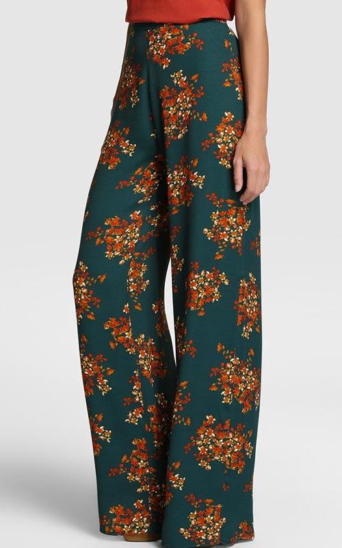 Pantalones anchos de estampado floral
