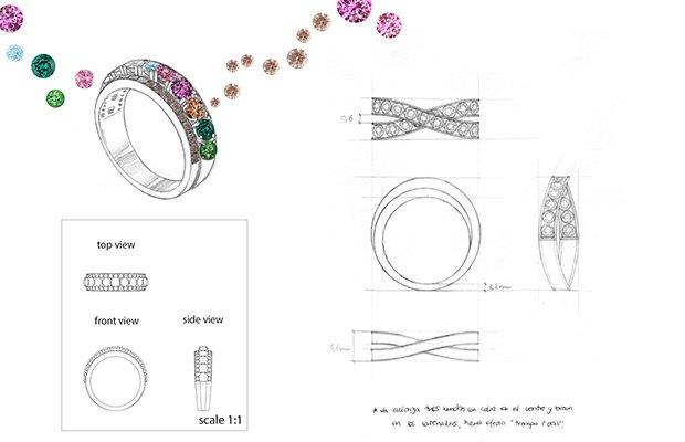 Dibujo joyas colección Moonrise de Suárez
